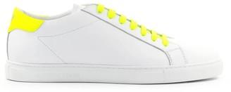 Emporio Armani White Neon Yellow Nappa Leather Sneaker