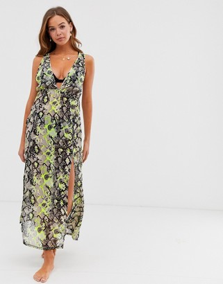 Influence beach maxi dress in neon snake print-Multi