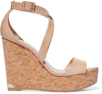 Jimmy Choo Portia 120 Patent-leather Wedge Sandals