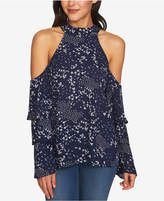 1 STATE 1.STATE Printed Cold-Shoulder Tiered-Sleeve Top