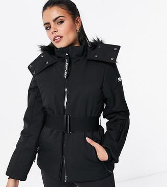 ASOS 4505 Petite ski belted jacket with faux fur hood
