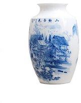 Dahlia Chinese Blue and White Porcelain Waterside Village Decorative Large Vase