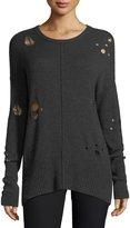 Autumn Cashmere Distressed Ribbed-Hem Crewneck Sweater
