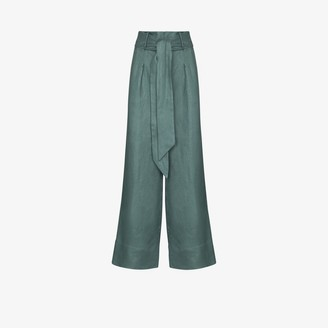 BONDI BORN Fancy wide leg linen trousers
