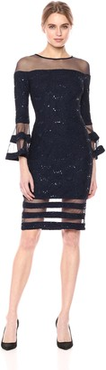 Betsy & Adam Women's Short Lace with Bell Sleeve Dress