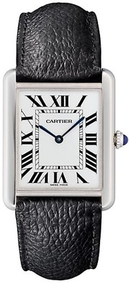 Cartier Tank Solo Large Stainless Steel & Black Leather-Strap Watch