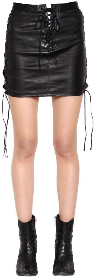 9634490b7f1 Lace Up Leather Skirt - ShopStyle