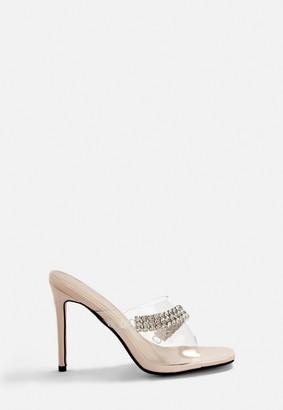 Missguided Nude Diamante Stiletto Mule Heels