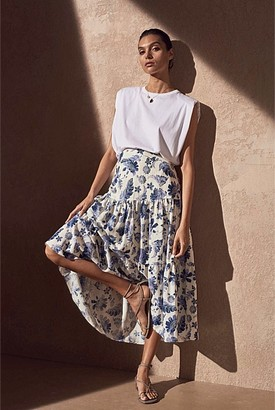 Witchery Print Tiered Skirt