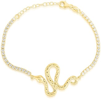 Sphera Milano 14K Gold Plated Sterling Silver Snake Bracelet