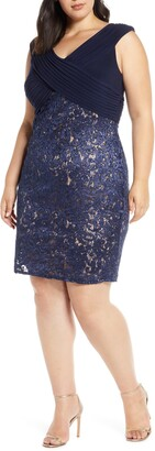 Alex Evenings Pleat & Sequin Lace Shift Dress