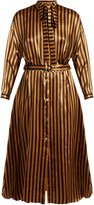 Nina Ricci Tie-neck striped silk-satin dress