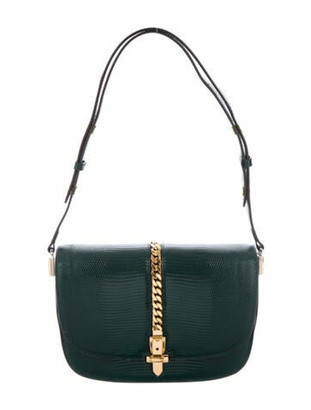 Gucci Lizard Small Sylvie 1969 Shoulder Bag green