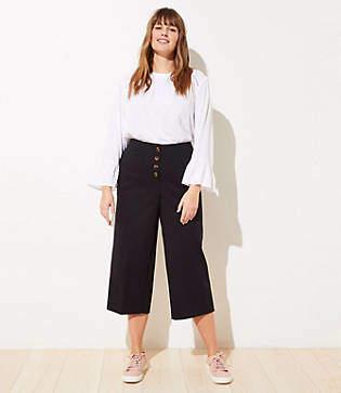 LOFT Plus Button Front High Waist Wide Leg Ankle Pants