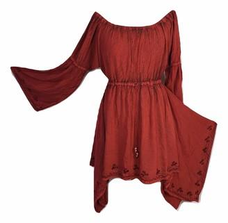 Doorwaytofashion Plus Size Bohemian Renaissance Medieval Tunic Dress 16 18 20 22 24 (Copper)