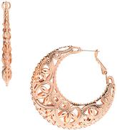 Carole Rose Goldtone Filigree Hoop Earrings