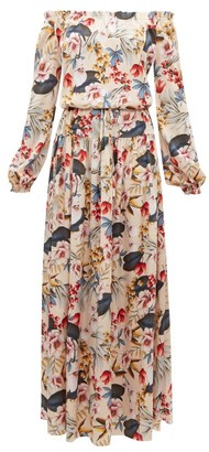 Adriana Iglesias Creek Floral Print Silk Satin Dress - Womens - Nude Multi