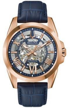 Bulova Men's Automatic Classic Sutton Blue Leather Strap Watch 46mm