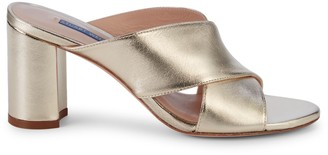 Stuart Weitzman Galene Metallic Leather Block-Heel Sandals