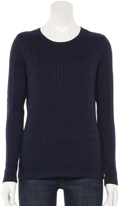 Croft & Barrow Women's The Classic Cable Crewneck Sweater