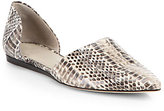 Jenni Kayne Snake-Embossed Leather D'Orsay Flats