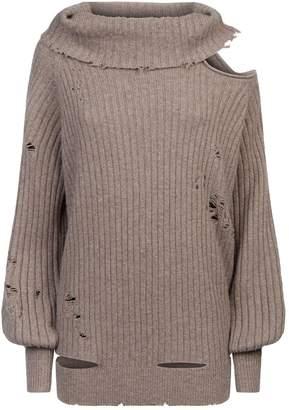 Faith Connexion Distressed Cold-Shoulder Sweater