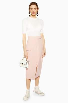 Topshop Womens Split Utility Midi Skirt - Pink