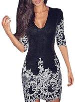 SEBOWEL Women's 3/4 Sleeve Sequins Slim Bodycon Dress-(,M)