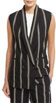 Brunello Cucinelli Paillette-Stripe Double-Breasted Vest, Black