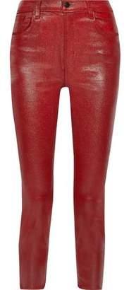 J Brand Ruby Cropped Coated High-rise Slim-leg Jeans