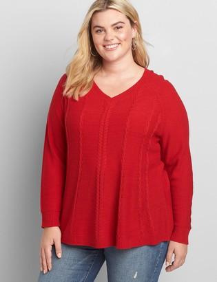 Lane Bryant Lane Essentials V-Neck Cable-Stitch Swing Sweater