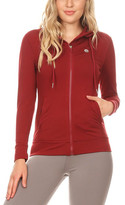 The Free Yoga Women's Sweatshirts and Hoodies Red - Red Pocket Zip-Up Hoodie - Women