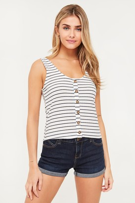 Ardene Ribbed Buttoned Striped Tank Top