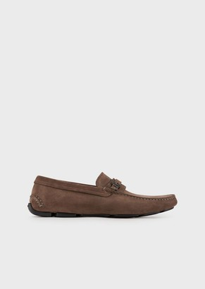 Giorgio Armani Driver Moccasins In Suede With Logo Detail
