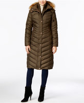 Andrew Marc Hooded Faux-Fur-Trim Long Down Puffer Coat