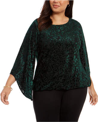 Alfani Plus Size Velvet Burnout Top