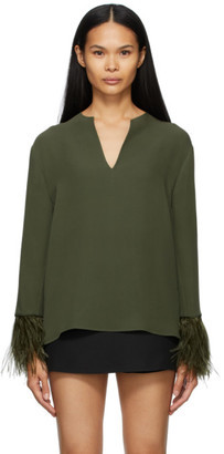 Valentino Green Silk Feather Embellished Blouse