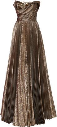 Oscar de la Renta Embellished Lame Silk-Blend Plisse Strapless Gown