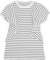 Facetasm Ruffled Striped Cotton-jersey T-shirt - White