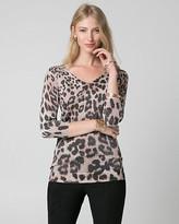 Le Château Leopard Print Metallic Knit Sweater