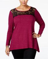NY Collection Plus Size Lace-Yoke Rib-Knit Sweater