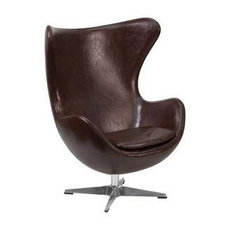 Orren Ellis Minix Swivel Balloon Chair Orren Ellis Upholstery Color: Brown