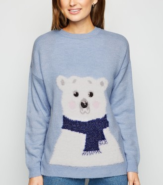 New Look Fluffy Polar Bear Christmas Jumper
