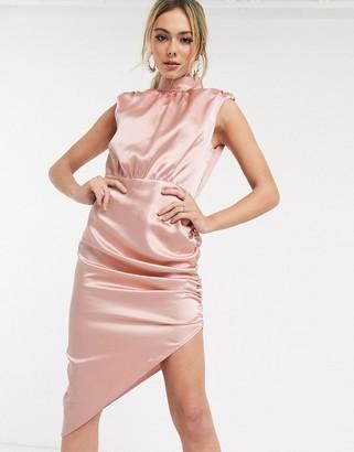 John Zack satin high neck asymmetric midi dress in salmon-Pink
