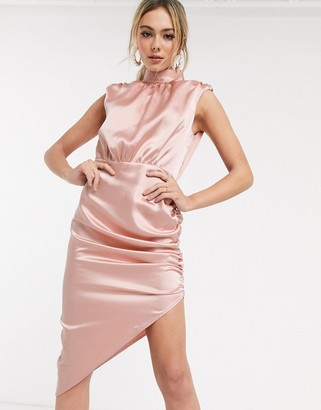 John Zack satin high neck asymmetric midi dress in salmon