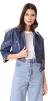 Vika Gazinskaya Faux Leather Cropped Biker Jacket