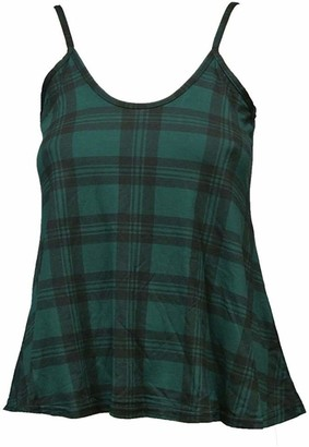 Girlzwalk Girl Women Ladies Printed Sleeveless Strappy Swing Vest CAMI Casual Tank TOP 8-22 (Red Tartan XL/UK 16-18)