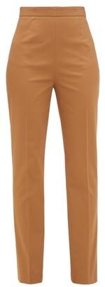 Prada High-rise Stretch-cotton Gabardine Trousers - Womens - Camel