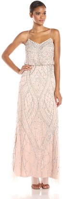 Adrianna Papell Women's Sleeveless Beaded Blouson Gown