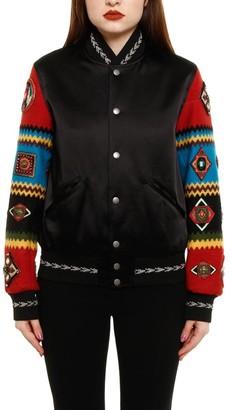 Saint Laurent Contrast Embroidered Sleeve Bomber Jacket